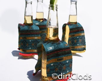 Beer Cozies set of four, Knit Mexican Serape beer hungers, Wedding Favors