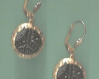 1800s Black Glass Button Earrings