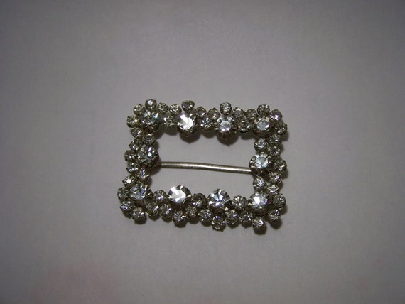 RESERVED - Vintage 1950s Crystal Rhinestone Shoe Buckle Rare Collectable Accessories Jewellery