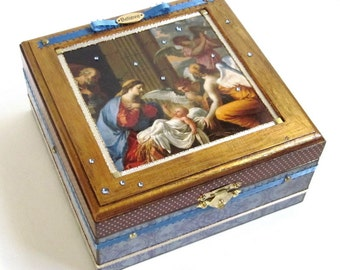 Jewelry Box Nativity Scene Decoupaged Decorated Religious Christmas Holy Family Keepsake Box Madonna and Child with Angels