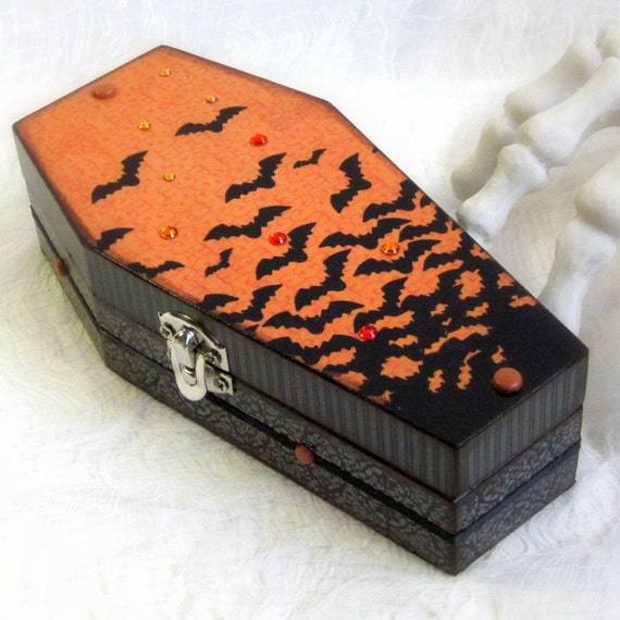 Coffin Box Decoupaged Halloween Coffin Box Goth Gothic Black