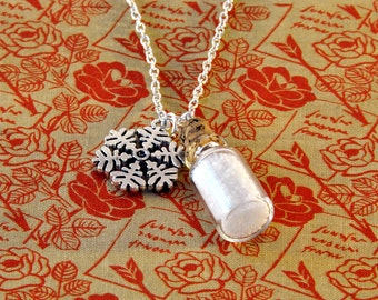 Bottle of Snow Necklace - Narnia Necklace - Snowflake Jewellery - Snow Queen