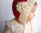 Baby hat, crocheted baby hat with flower, baby bonnet, christmas baby gift, thanksgiving outfit, bonnet with flower, children accessories
