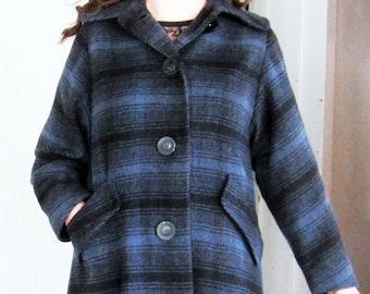 1950s wool plaid coat Blue Black and Grey M