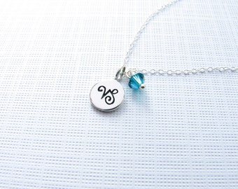 Personalized Zodiac Sign Birthstone Charm Necklace Astrological Symbol Astrology Celestial Under 20 Gift for Women Birthday Sterling Silver