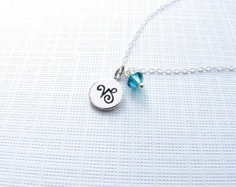 Zodiac sign birthstone necklace astrological symbol astrology sterling silver charm necklace