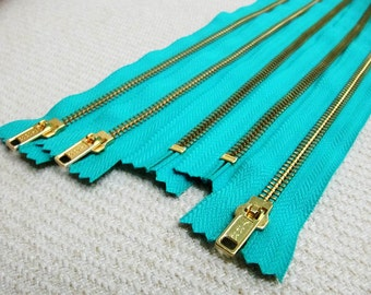 16inch - Turquoise Metal Zipper - Gold Teeth - 5pcs