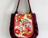 Medium Floral Pleated Tote in Red