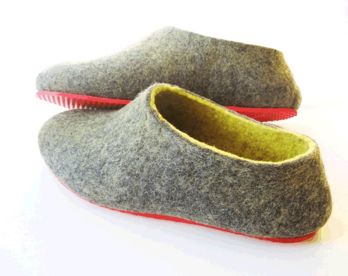 Gray and Yellow Wool Slippers - Minimalist Shoes - Rubber Soles - Gift for Boss - Gift for Her - Natural Shoes - House Shoes