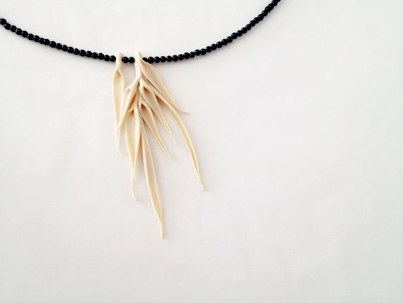 organic primitive form necklace - abstract minimalistic jewellry - nO. 198 'autumn leaves between black onyx'