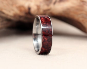 Honduras Rosewood Burl Wood Ring Lined With Titanium
