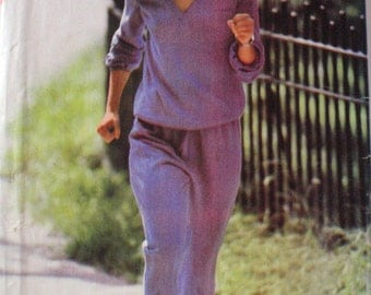 Track Suit Sewing Pattern - V Neck Top and Pants - Butterick 3018 - Sizes 8-10-12, Bust 31 1/2 - 34,  Uncut