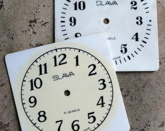 Vintage Soviet Alarm Clock Faces from 1980's -- plastic -- D1