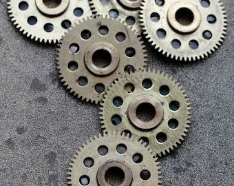 Vintage clock brass gears -- set of 6 -- D16