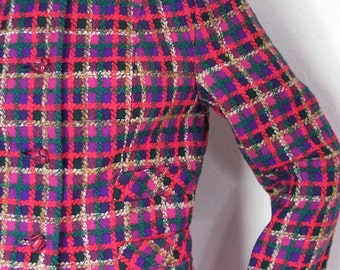 The 1960's Pink and Purple Plaid Jack Clarke Irish Wool Woman's Suit