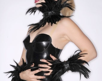 Latex Choker with SPIKES and FEATHERS