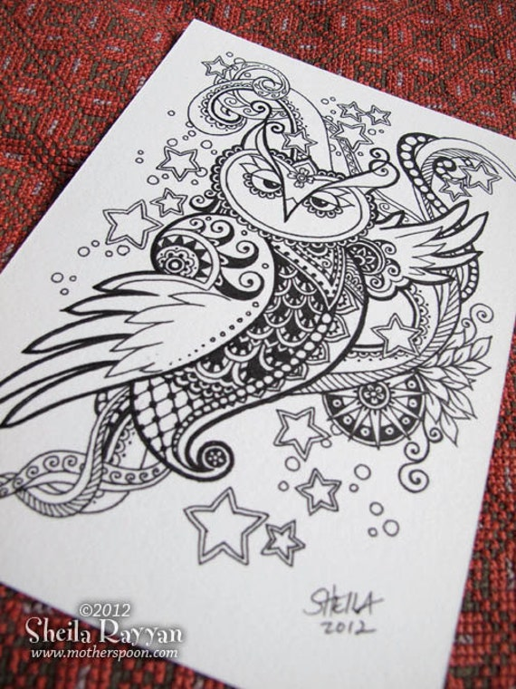 Owl Doodle Drawing Doodle Owl Original Ink