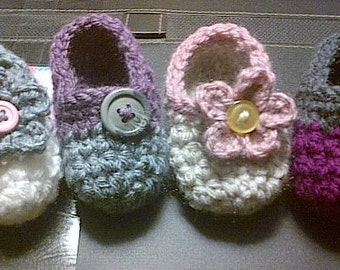 Made to Order - Child's Slippers with flowers or buttons. Any size and any color combination.