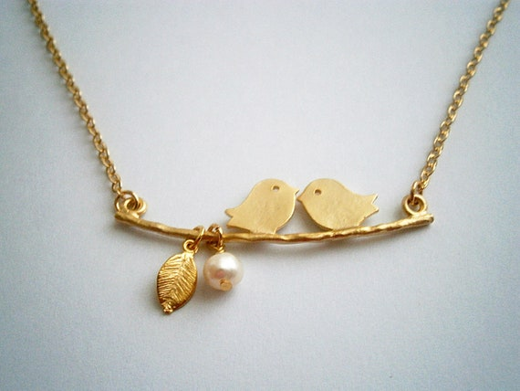 Pearl Necklace Birds On A Branch Necklace Pearl Gold Necklace With Two Love Birds Gold Leaf And Freshwater Pearls