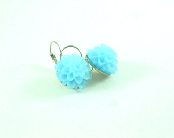 Stud earrings  Ice blue chrysanthemum cabochons on silver colored bezels wedding earrings bridesmaid valentine mothers day gift ieas for her