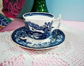 Vintage Clarice Cliff Blue Tonquin Teacup with Saucer, Serve Ware, Table Ware, Home Decor, Blue Wares