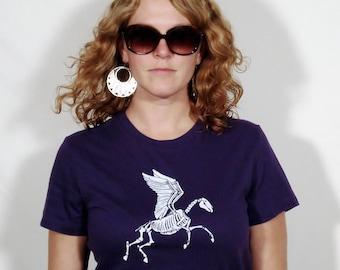 SALE Zombie Pegasus on Women's Deep Purple T-Shirt Large