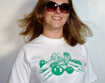 SALE Veggies on Vintage White T-Shirt  - Available in S