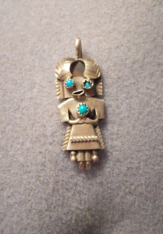 Hold for KIM---Vintage Southwest Tribal Indian Native American  Sterling Silver Figure / Man / Doll  Pendant w/ Turquoise