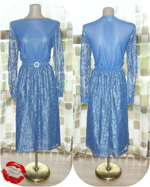 Vintage 70s 80s BLUE LACE Cocktail Disco Dress 12/ L Mother of Bride or Bridesmaid