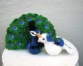 Peacock Love Keepsake Wedding Cake Topper
