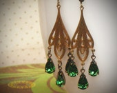 Emerald Green Rhinestone Earrings, Teal, Tourmaline, Art Nouveau, Chandelier, Boho