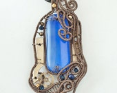 OOAK Blue steampunk fused dichroic glass wire wrapped pendant