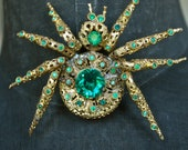 Giant Rare Czech Gold Washed Filigree and Emerald Rhinestone Spider Brooch