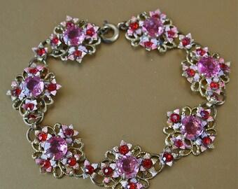 Czech Bracelet Bohemian Art Deco Pink and Red Floral Link Enamel Rhinestone Filigree