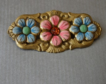 Czech Vintage 30's Brooch Pastel Enamel Floral Art Deco Brooch New Old Stock