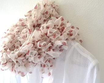 Ruffle Scarf, knit white scarf for women, scarf white red with roses