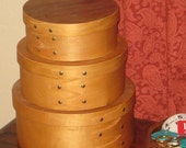 Set of 3 Round Wooden Nesting Boxes