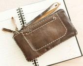 Zipper Leather Wristlet Pouch in Dark Brown