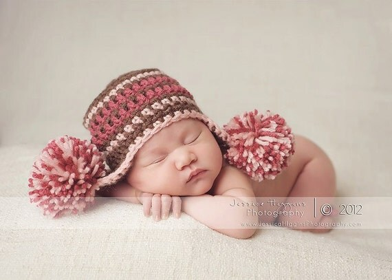 Newborn Pom Pom Earflap Hat, Adorable Newborn Photography Prop can be Customized for Girls and Boys