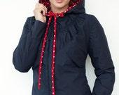 navy blue hooded jacket - polka dots