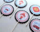 CLOSING SALE - See Homepage for Details! - Firefighter Cupcake Toppers - 12 - firetruck party collection