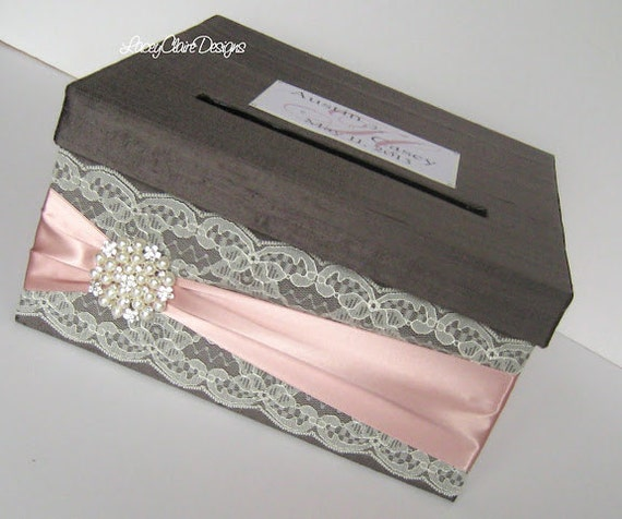 Wedding Card Box Custom Envelope Card Holder Lace Blush Handmade Silk ...