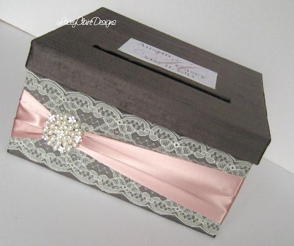 Unique Wedding Card Holders: Wedding Card Box Custom Envelope Card Holder Lace Blush