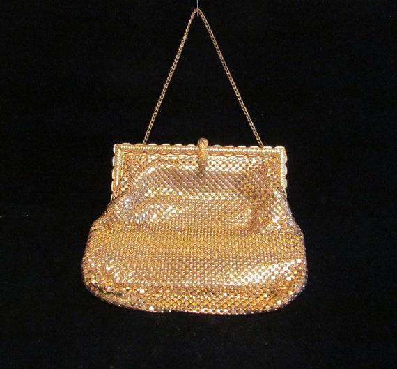 1930's Purse Gold Mesh Purse Vintage Purse Evening Purse Wedding Bridal Bag Art Deco Clutch Handbag Excellent Condition