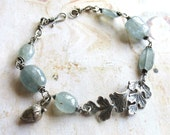 Oak Leaf - Oxidized Sterling Silver and Gemstone Artisan Handmade Wire Wrapped Bracelet