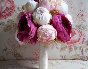 Peony and Ranunculus Wedding Bouquet - Ivory, Blush, and Fuchsia Peony Bouquet