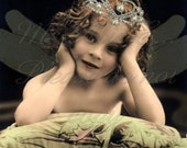 Fairy Princess.  The dragonfly fairy child digital download for altered art