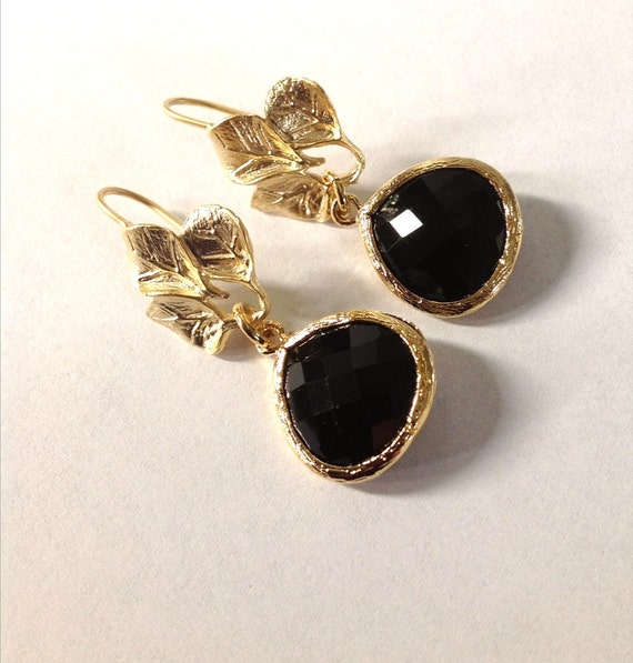 black earrings black drop earrings gold and black earrings