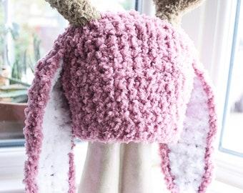 Jackalope Hat, Newborn to Adult Bunny Hat, Crochet Baby Hat, Bunny Costume, Bunny Beanie, Antlers Hat, Plum Jackalope Beanie Easter Cij