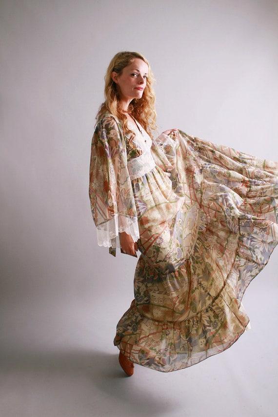 1970s maxi dress / vintage new old stock gunne sax dress / Landscape